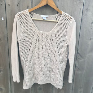 Design History Tan Open Knit Lightweight Sweater